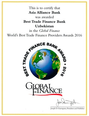 «ASIA ALLIANCE BANK» was named one of the Best Trade Finance Provider Bank