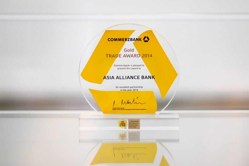 "JSCB ""ASIA ALLIANCE BANK"" was awarded by Commerzbank AG, Germany, for the excellent cooperation in trade business in 2015"